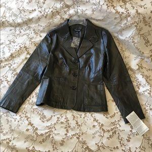 Ladies Dark Brown Leather Jacket Size 8P